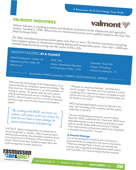 Rasmussen Air and Gas Energy case study on Valmont Industries
